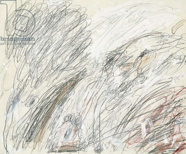 Untitled (Roma), 1961 (oil, graphite and coloured crayons on canvas)