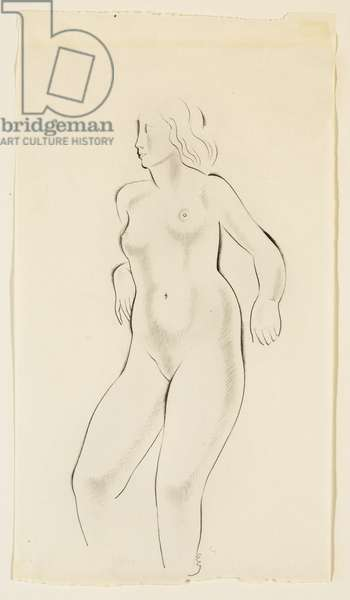 Study of a Female Nude,  (pencil on paper)