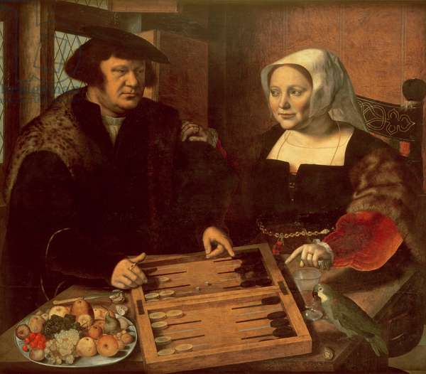 Portrait of a Husband and Wife Playing Tric-Trac