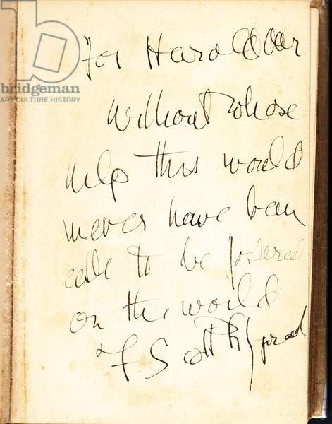 Author's inscription on a front flyleaf of a first edition of 'Tender is the Night', 1934 (pen & ink on paper)