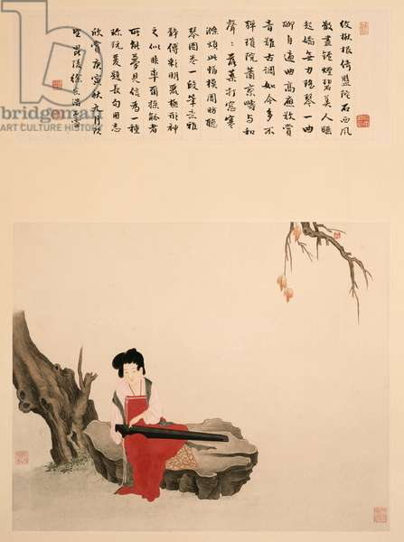 Lady Sitting on a Rock Playing a Qin (Scroll, mounted and framed, ink and colour on paper)