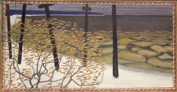 Autumn, the five crosses (oil on canvas) 1902