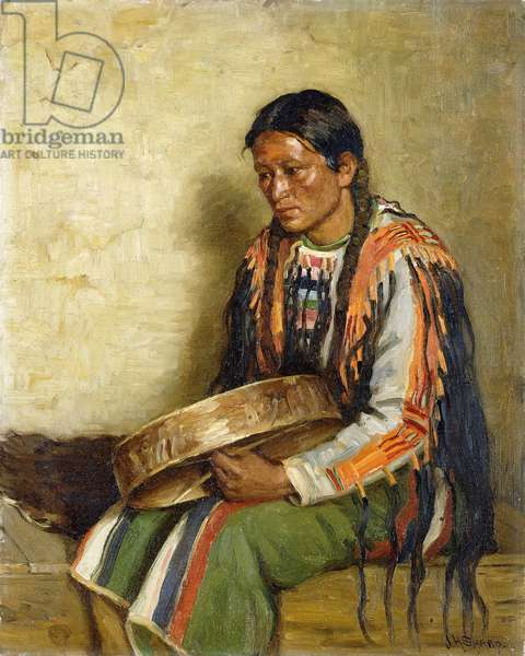 Indian with Drum,  (oil on canvas)