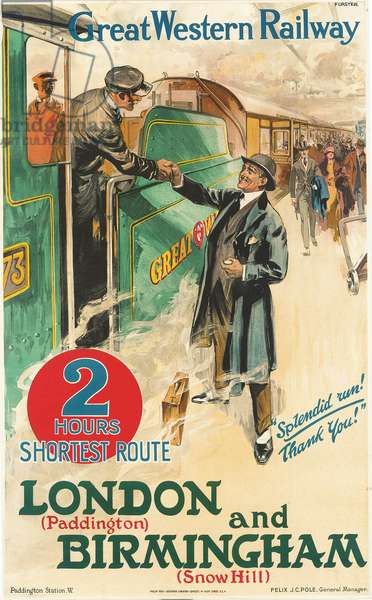 'London and Birmingham', poster advertising the Great Western Railway (colour litho)