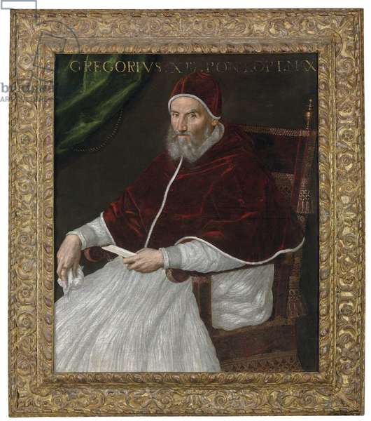 Portrait of Pope Gregory XIII, three-quarter-length, seated (oil on canvas)