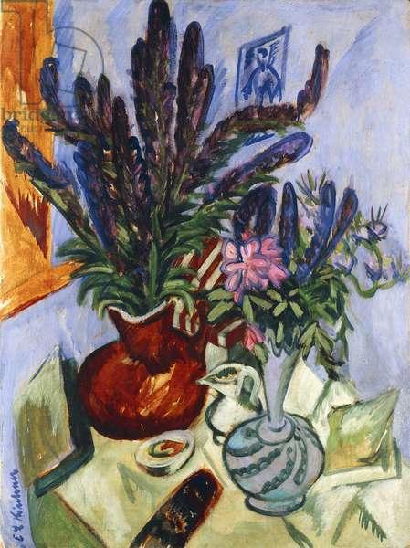 Still Life with a Vase of Flowers; Stilleben Mit Blumenvasen, 1912 (oil on canvas)