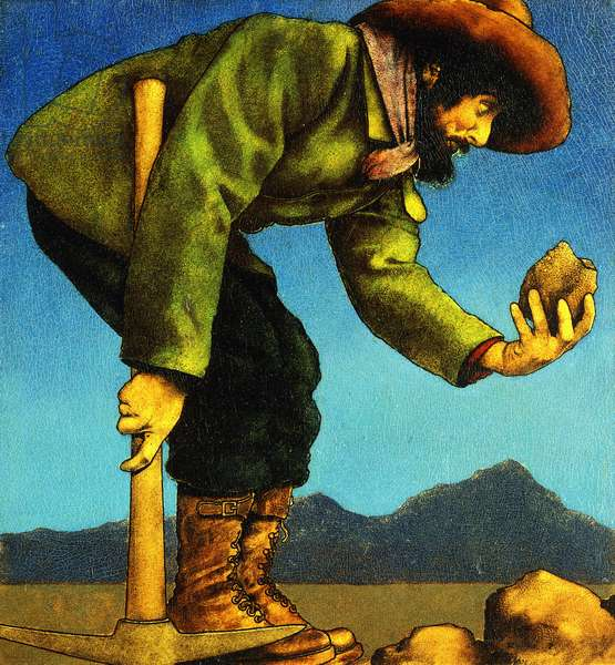 The Prospector,  (oil on paper laid on board)