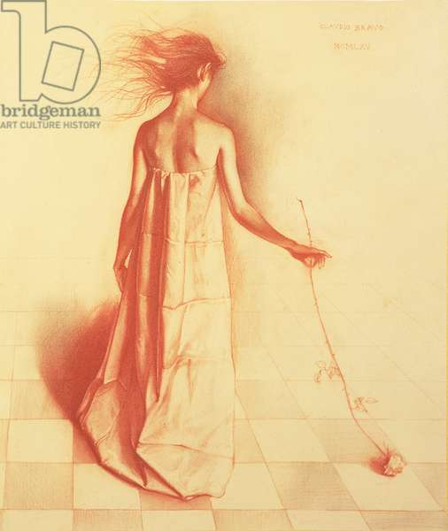 Woman with a Rose, 1965 (red chalk and charcoal on paper)
