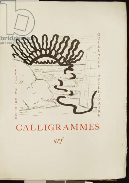 Frontispiece of 'Calligrammes' by Guillaume Apollinaire, 1930 (colour litho)