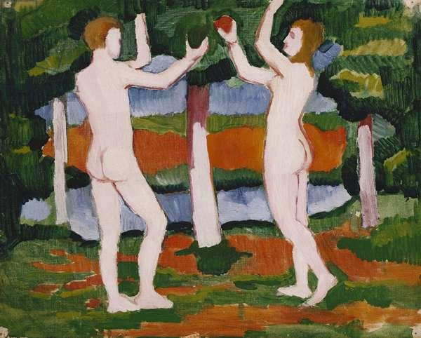 Nude; Akt, (oil on canvas)