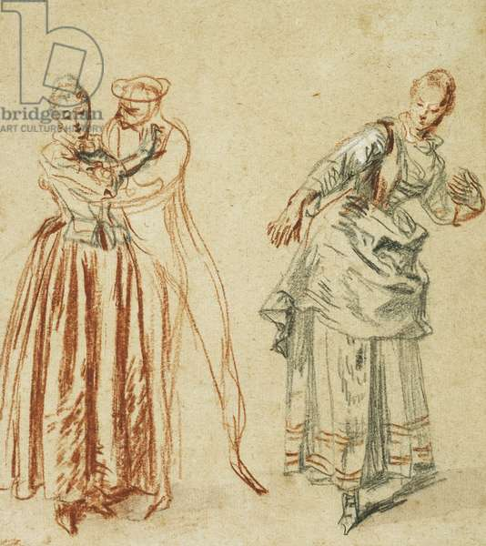 A scene from  the commedia dell'arte: A girl resisting the advances of a comedian, and an actress executing a step, c.1718 (black lead, red, black and white chalk)