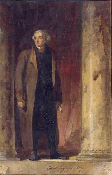 Portrait of Thomas Jefferson, 1822 (watercolour, gouache and pencil on paper)