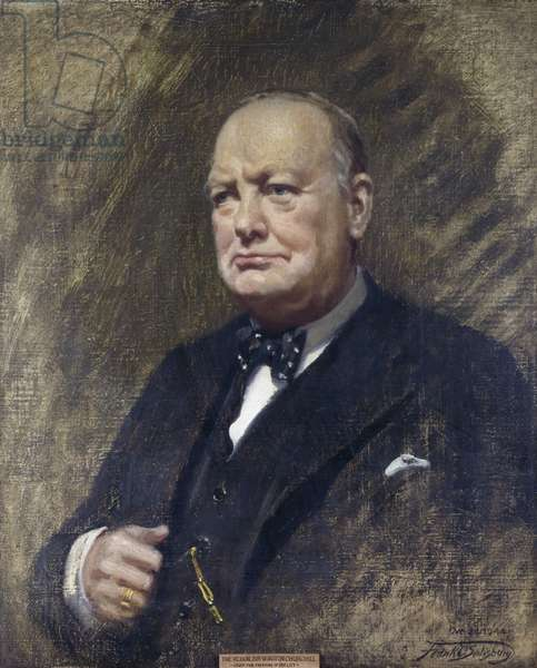 Portrait of Winston Spencer Churchill, later Sir Winston Spencer Churchill, (Prime Minister 1940-45 and 1951- 55), standing half length in a dark suit and bow tie, 1944 (oil on canvas)