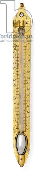 Signed thermometer scale (brass, glass & mercury) (see also 745806)