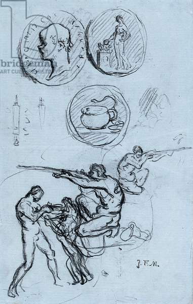 Three studies for antique coins, hunters, and a man with a lion (chalk on paper)
