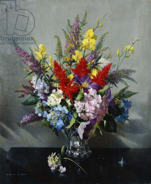 Still Life with Buddleia, Hydrangea and Clematis, (oil on canvas)