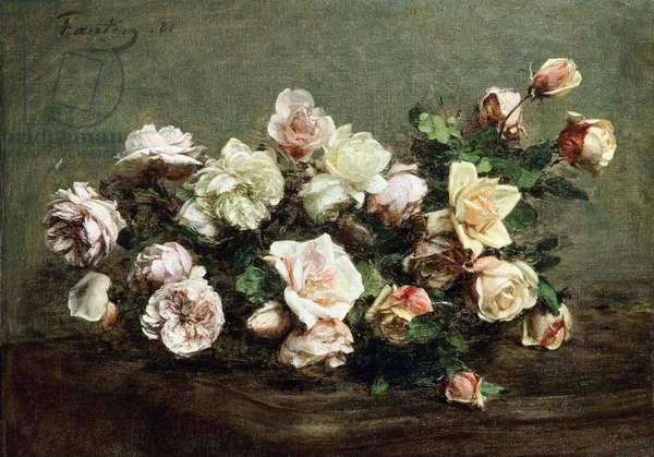 Vase of White Roses on a Table; Vase de Roses Blanches et Roses sur la Table,  (oil on canvas)