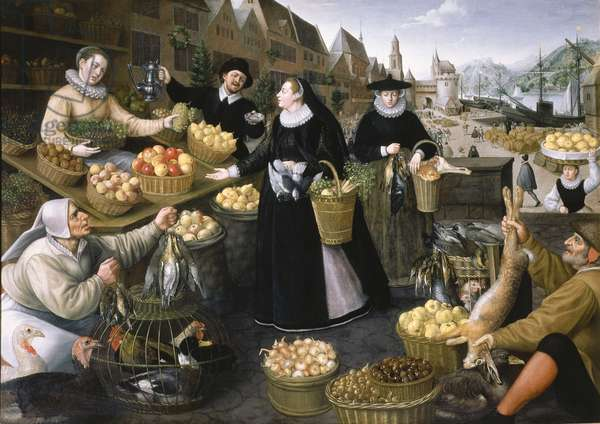 An Allegory of Autumn: a fruit and vegetable stall above the Weinmarkt in Frankfurt am Main, 1594 (oil on canvas)