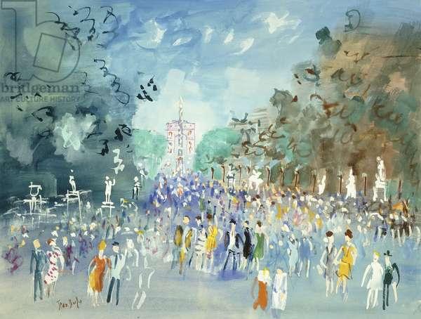 Les Champs Elysee, c.1950 (gouache on paper)