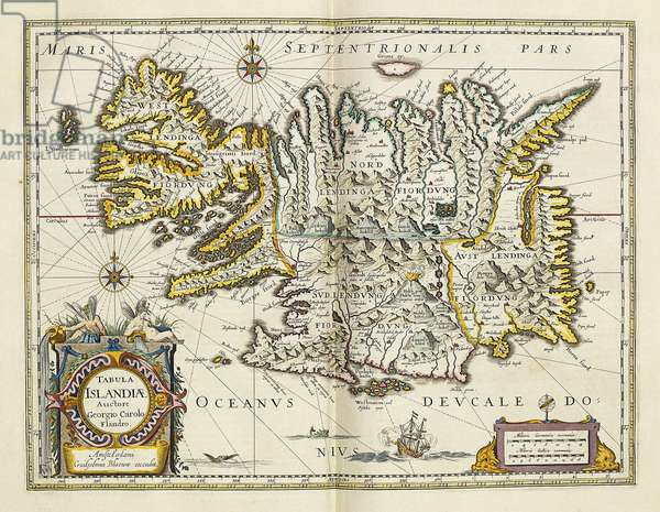 Map of Iceland, from 'Atlas Maior Sive Cosmographia Blaviana', 1662 (hand-coloured engraving)