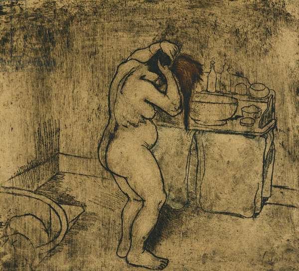 Catherine Nude Combing her Hair; Catherine Nue Se Coiffant, 1895 (soft-ground etching with drypoint)