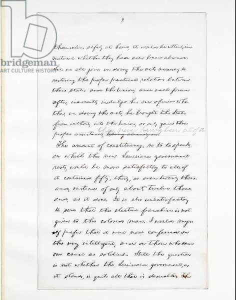 Autograph manuscript of Lincoln's last address as President, delivered in Washinton, D. C., from the window of the White House on the evening of 11th April, 1865 (pen & ink on paper) (see also 490414)