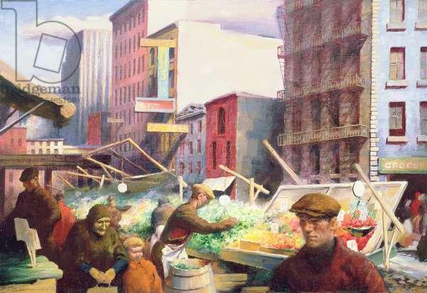 Street Market, New York, 1933 (oil on canvas)