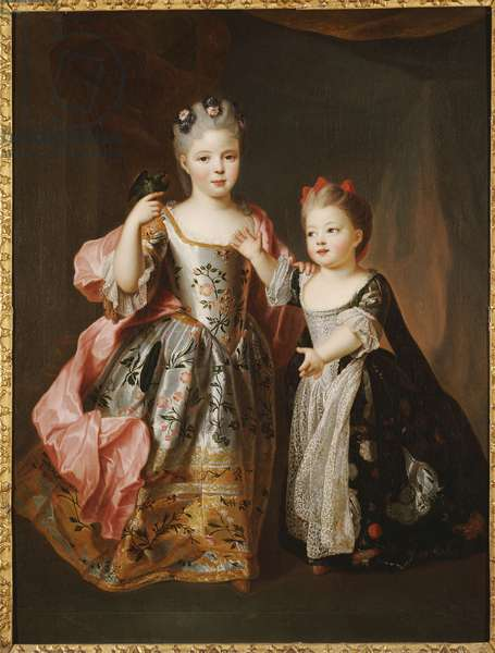 Portrait of two Young Girls, said to be Adelaide and Victoire, daughters of Louis XV (oil on canvas)