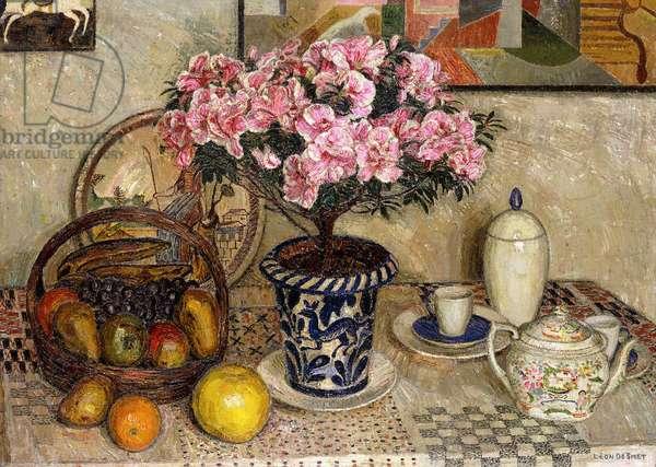 Still Life with Azaleas; Nature Morte aux Azalees - Stilleven met Azalea, c.1930 (oil on canvas)