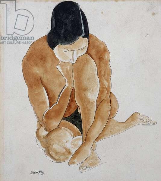 Crouching Nude, 1919 (pencil & w/c)