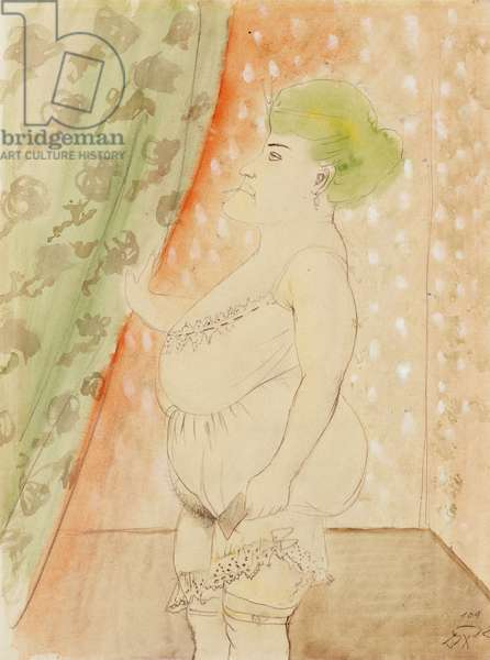Procuress (Woman with green Hair), 1922 (watercolour, white gouache and pencil on paper)
