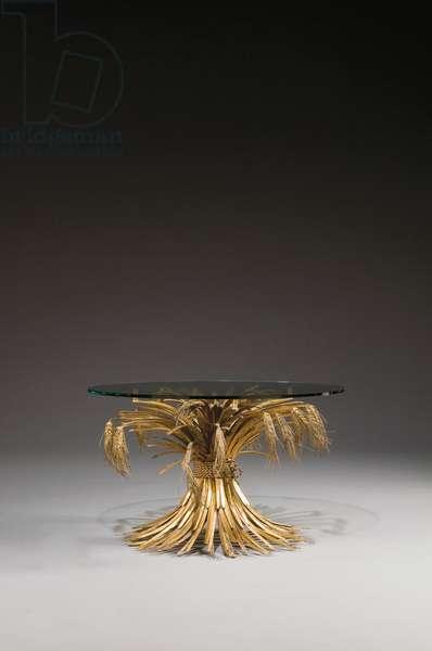 Coffee table (glass & gilt metal)