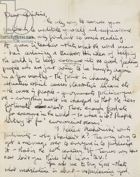 A rare hand-written letter from John Lennon giving a scarce in-depth insight into his views on the Maharishi and meditation, c.1967-68 (pen & ink on paper)