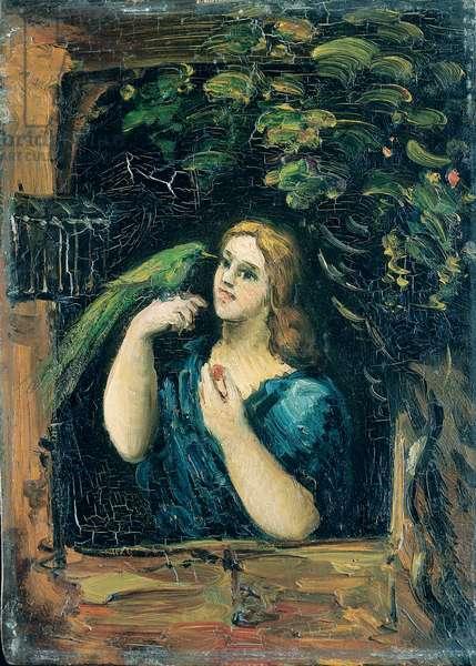 Woman with a Parrot (La Femme au perroquet), 1862-64 (oil on boxwood)