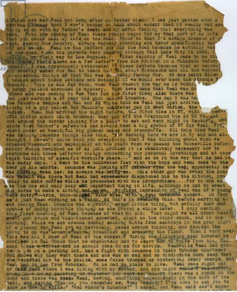 Opening section of a typescript scroll of 'On the Road' (published 1957), a first draft of the definitive Beat Generation novel, typed by Kerouac in New York City in a 20-day marathon between April 2nd and 22nd 1951 (typescript)