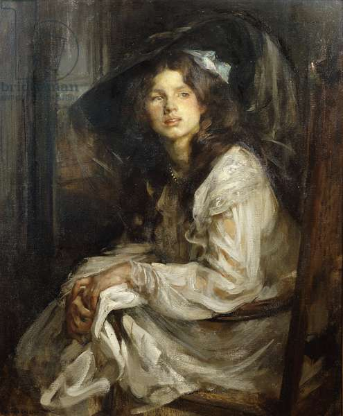 Girl Seated in a Chair, (oil on canvas)