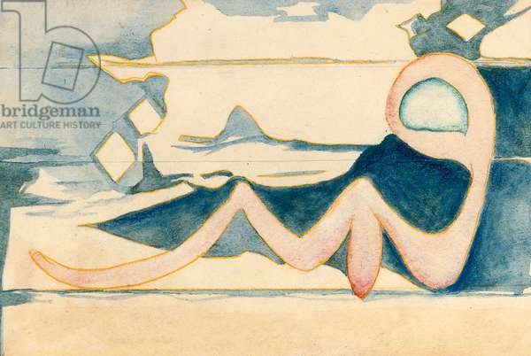 Les Nuages, Triptych, 1924 (w/c, bodycolour & pastel on paper)