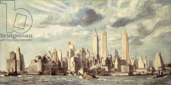 Lower Manhattan, 1932 (tempera on canvas)