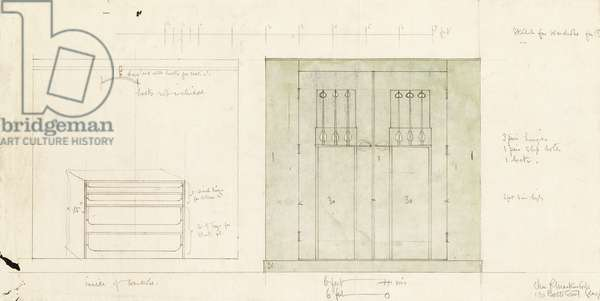 Design for a wardrobe, shown in elevation of the front and interior, c.1899-1900 (Pencil, watercolour)