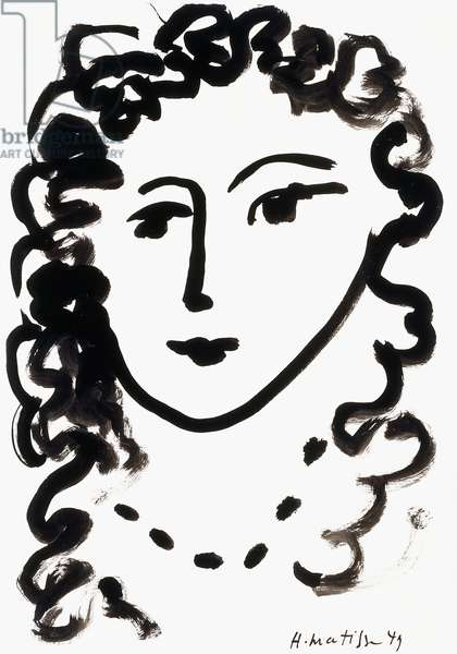 Head of a Woman, 1949 (brush and Indian ink on paper)