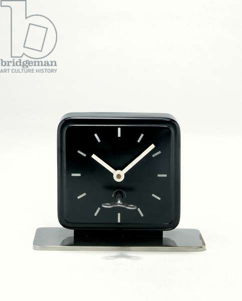 Metal table clock, c.1930 (chromium-plated with black & white paint)