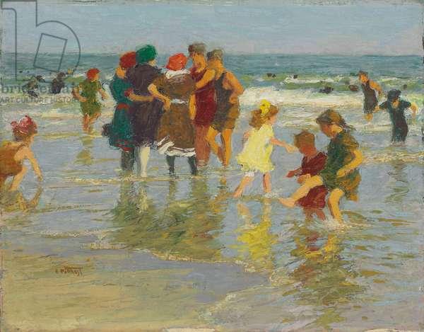 Beach Scene,  (oil on panel)