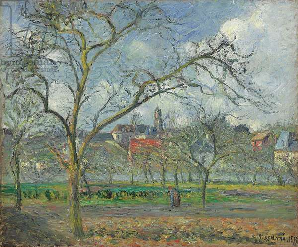 Orchard at Saint-Ouen-l'Aumone in Winter; Verger a Saint-Ouen-l'Aumone en hiver, 1877 (oil on canvas)