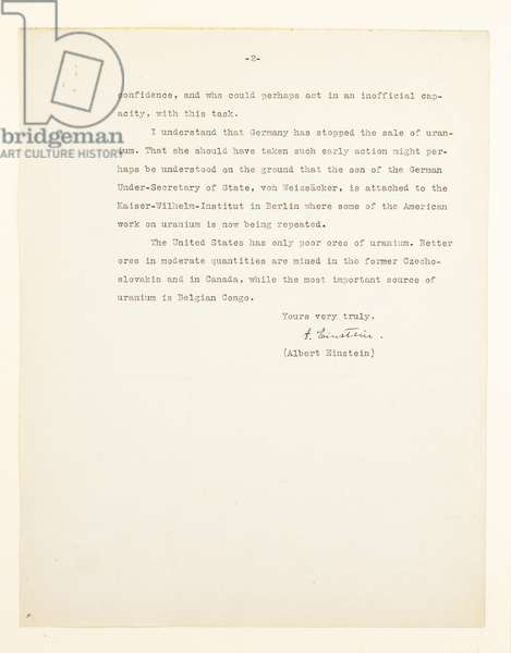Letter to President Franklin Delano Roosevelt, Peconic, Long Island, 2nd August 1939 (print & pen and ink on paper) (see also 488325)