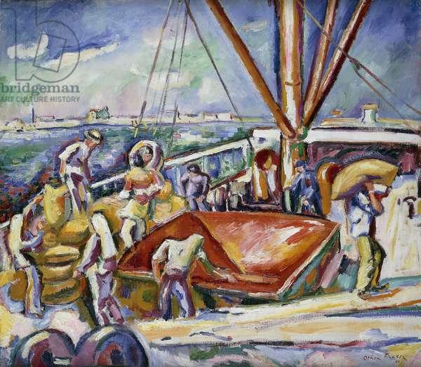 Dockers in the Port, Anvers; Dechargeurs Dans Le Port, Anvers, 1906 (oil on canvas)