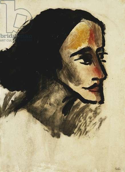 Portrait of a Lady; Damenbildnis, (watercolour on paper)