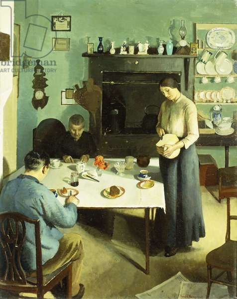 A Meal in the Kitchen, 1920 (oil on canvas)