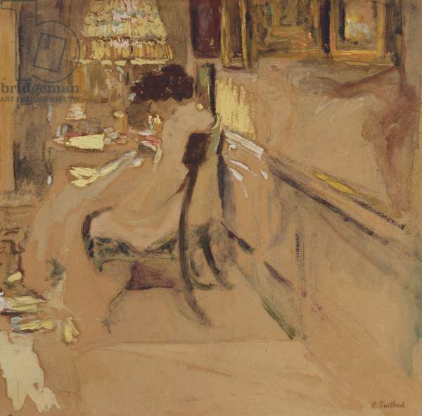 Madam Hessel Sewing under the Lamp, c.1905 (oil on board laid down on panel)
