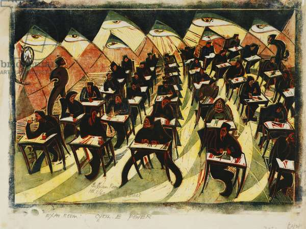 The Exam Room, c. 1934 (linocut printed in colours on thin Japan)