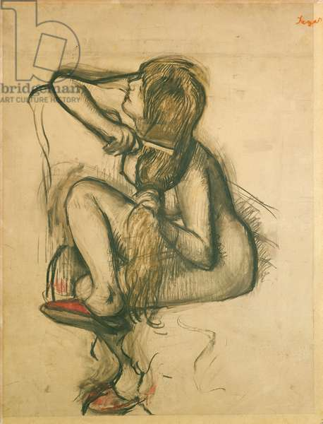 Woman Combing her Hair (charcoal & pastel on paper)